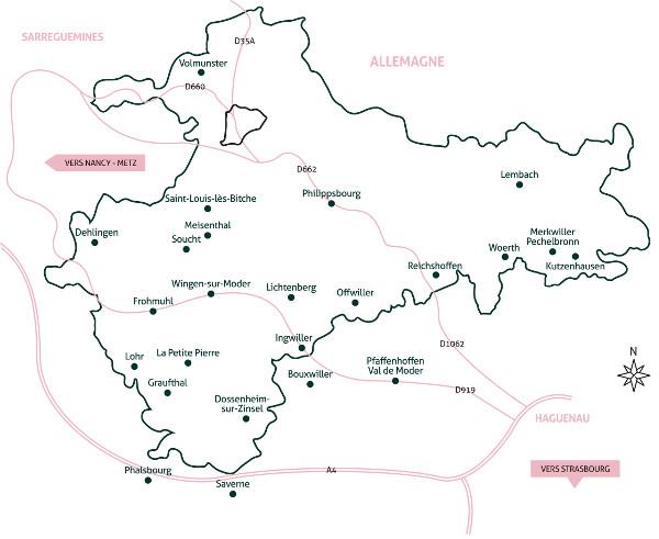 carte du parc naturel des Vosges du nord