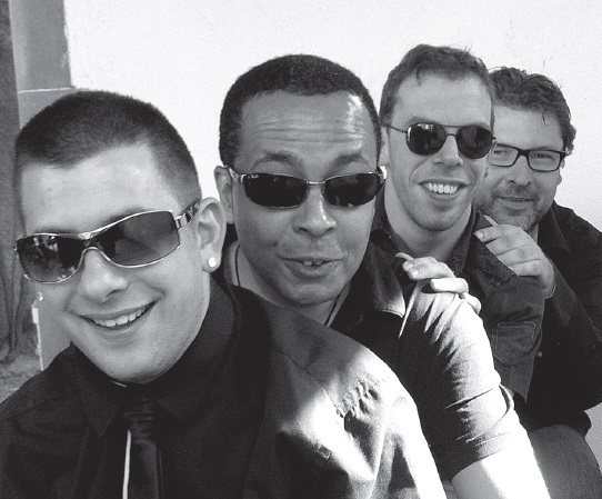 Quartet Sirocco Jazz, ESAT EVASION Sélestat. Photo des quatre musiciens.
