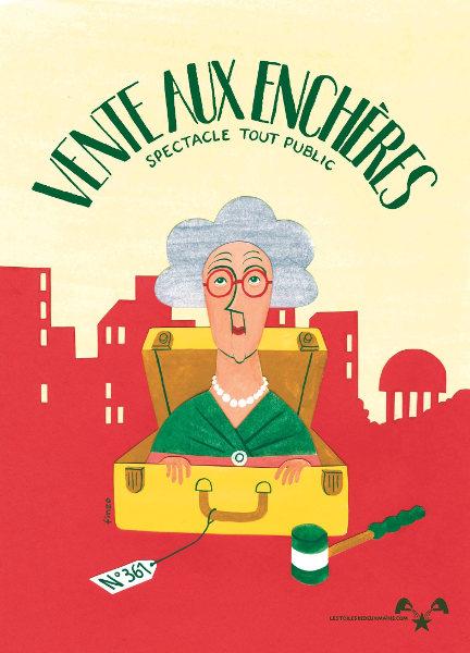Affiche du spectacle «Vente aux enchères», création de la compagnie Les toiles de deux mains.