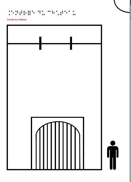 Image en relief et braille présentant l'entrée du château.